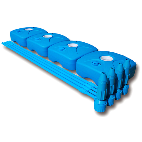 藍色旗桿+注水旗座