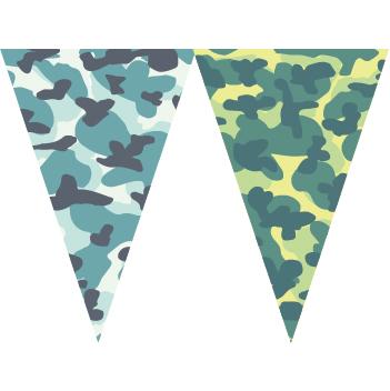 藍綠迷彩串旗