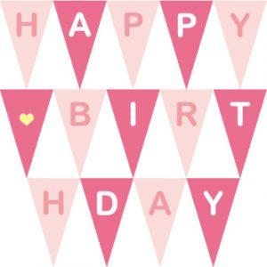 生日派對粉紅串旗