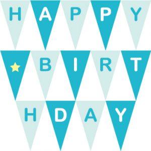 生日派對粉藍串旗