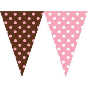 粉紅咖啡圓點串旗