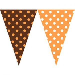 橘咖啡圓點串旗