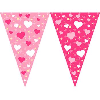 粉紅愛心串旗