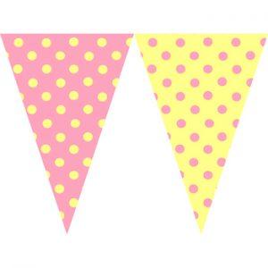 粉紅黃圓點串旗