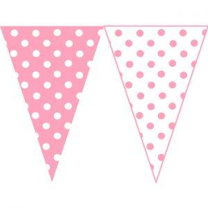 粉紅白圓點串旗