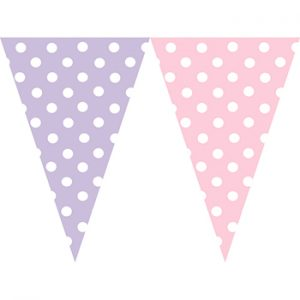 粉紫圓點串旗