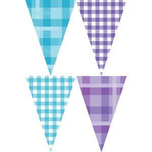 藍紫格紋串旗