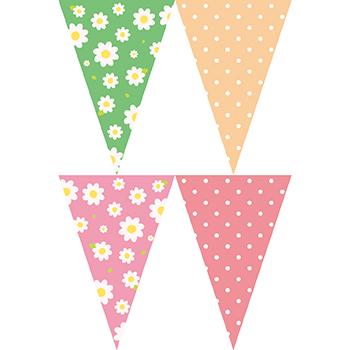 粉綠花圓點串旗