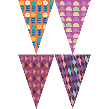 復古紫色花紋串旗