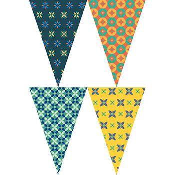 復古四色花紋串旗